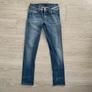 Nudie Jeans Womens Skinny Sz 26 Medium Blue Denim